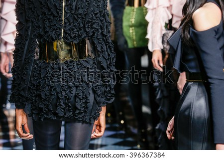 PARIS, FRANCE - MARCH 03: Models walk the runway during the Balmain show as part of the Paris Fashion Week Womenswear Fall/Winter 2016/2017 on March 3, 2016 in Paris, France.