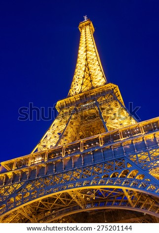 Paris, France - March 2, 2015: The Eiffel Tower is one of the world's most famous landmark in Paris, France.