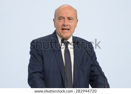 PARIS, FRANCE - MAY 30, 2015 : Alain juppe during the founding congress of the Republican Party. - stock photo