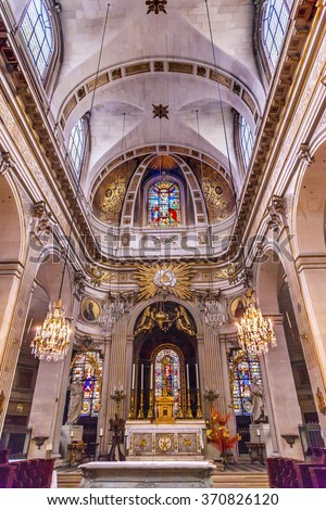 PARIS, FRANCE -  MAY 31, 2015 Basilica Stained Glass Church Saint Louis En L'ile Paris France.  Saint Louis En L'ile church built in 1726 on the island in back of Nortre Dame.   - stock photo