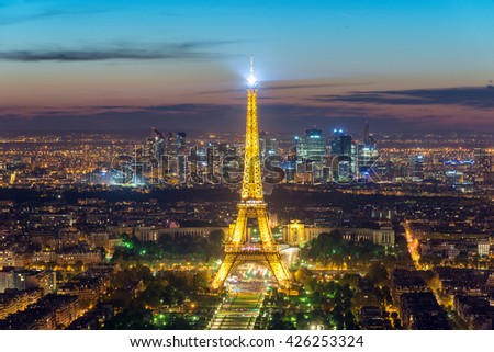 PARIS, FRANCE - May 5, 2016: Beautiful view Eiffel tower at dusk, Paris, France.