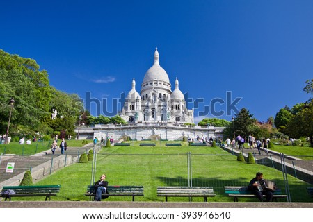 Paris France - 7 May 2011: Breathtaking moment in front of Montmartre in one clear fine day