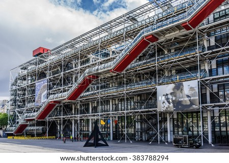 PARIS, FRANCE - MAY 13, 2014: Centre Georges Pompidou (1977, architects Richard Rogers and Renzo Piano) was designed in style of high-tech architecture.  - stock photo