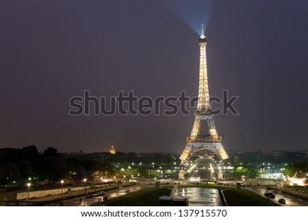 PARIS, FRANCE - MAY 14: Ceremonial lighting of the Eiffel tower on May 14, 2010 in Paris, France. The Eiffel Tower is the most visited monument of France with about 6 million visitors every year.