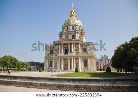 PARIS, FRANCE -MAY 30: Chapel of Saint Louis des Invalides on May 30, 2014 in Paris. Chapel built in 1679 is the burial site for some of France's war heroes, notably Napoleon Bonapart - stock photo