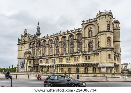 PARIS, FRANCE - MAY 17, 2014: Chateau de Saint-Germain-en-Laye in west of Paris. It was built in 1124 by Louis VI as fortified hunting-lodge. Chateau now - National Museum of Archaeology.