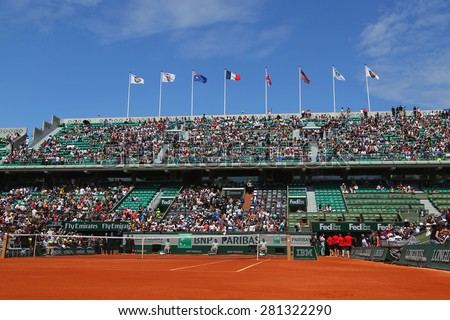 PARIS, FRANCE- MAY 23, 2015 Court Philippe Chatrier at Le Stade Roland Garros during practice matches in Paris, France - stock photo