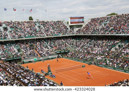PARIS, FRANCE- MAY 24, 2015: Court Philippe Chatrier at Le Stade Roland Garros during Roland Garros 2015 match in Paris, France