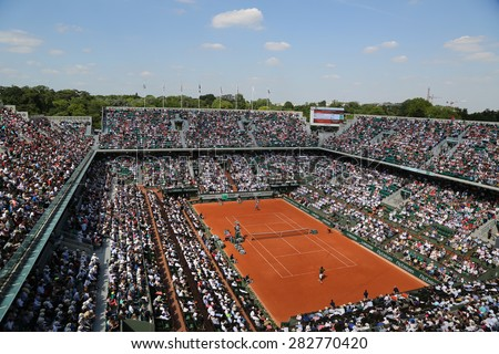 PARIS, FRANCE- MAY 27, 2015: Court Philippe Chatrier at Le Stade Roland Garros during second round match at Roland Garros 2015 in Paris, France - stock photo