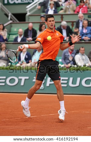 PARIS, FRANCE- MAY 26, 2015: Eight times Grand Slam champion Novak Djokovic during his first round match at Roland Garros 2015 in Paris, France - stock photo