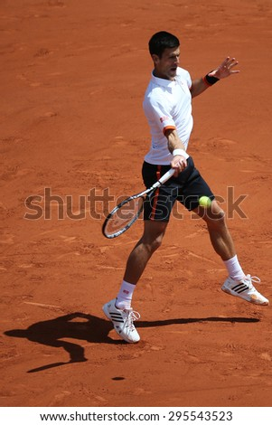 PARIS, FRANCE- MAY 30, 2015: Eight times Grand Slam champion Novak Djokovic in action during his third round match at Roland Garros 2015 in Paris, France