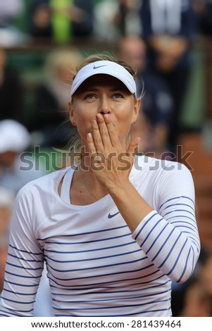 PARIS, FRANCE- MAY 25, 2015:Five times Grand Slam champion Maria Sharapova during first round match at Roland Garros 2015 in Paris, France - stock photo
