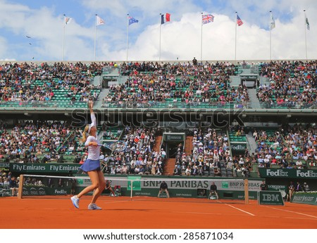 PARIS, FRANCE- MAY 27, 2015:Five times Grand Slam champion Maria Sharapova during second round match at Roland Garros 2015 in Paris, France - stock photo