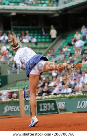 PARIS, FRANCE- MAY 29, 2015:Five times Grand Slam champion Maria Sharapova during third round match at Roland Garros 2015 in Paris, France