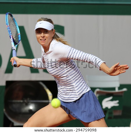 PARIS, FRANCE- MAY 25, 2015:Five times Grand Slam champion Maria Sharapova in action during her first round match at Roland Garros 2015 in Paris, France - stock photo