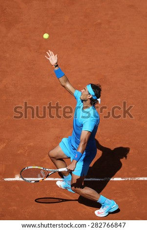 PARIS, FRANCE- MAY 30, 2015:Fourteen times Grand Slam champion Rafael Nadal during third round match at Roland Garros 2015 in Paris, France