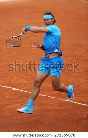 PARIS, FRANCE- MAY 28, 2015:Fourteen times Grand Slam champion Rafael Nadal in action during his second round match at Roland Garros 2015 in Paris, France