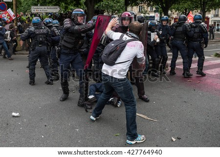Paris, FRANCE - MAY 26, 2016 : French police, anti-riot squad, try to contain people during the massive protest over the labor law reforms. - stock photo