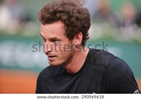 PARIS, FRANCE- MAY 28, 2015: Grand Slam champion Andy Murray after his second round match at Roland Garros 2015 in Paris, France - stock photo