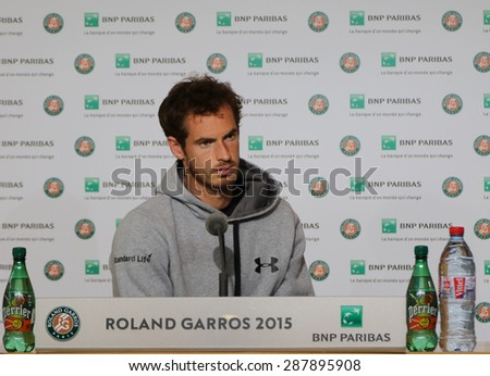 PARIS, FRANCE- MAY 28, 2015: Grand Slam champion Andy Murray during press conference at Roland Garros 2015 in Paris, France - stock photo
