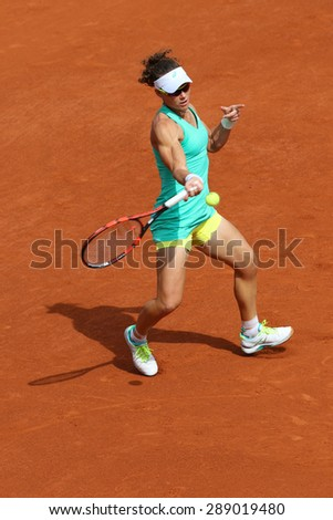 PARIS, FRANCE- MAY 29, 2015:  Grand Slam champion Samantha Stosur of Australia  during third round match at Roland Garros 2015 in Paris, France