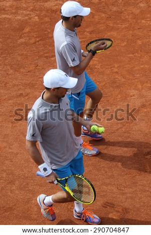 PARIS, FRANCE- MAY 29, 2015: Grand Slam champions Mike and Bob Bryan of United States in action during second round match at Roland Garros 2015 in Paris, France