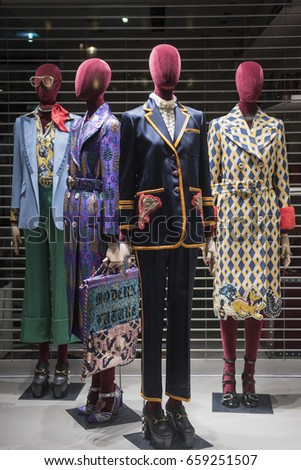 Paris, France 06 May, 2017: Gucci luxury store in Paris city center.