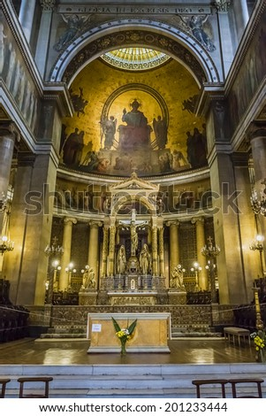 PARIS, FRANCE - MAY 17, 2014: Interior of Saint-Vincent-de-Paul Church (Eglise Saint-Vincent de Paul, design Jean-Baptiste Lepere, was built during 1824 - 1844) dedicated to Saint Vincent de Paul.
