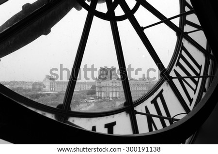 Paris, France - May 14, 2015: Large clocks with roman numerals in Museum d'Orsay,  Paris.The museum houses the largest collection of impressionist and post-impressionist masterpieces in the world. - stock photo