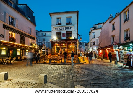 PARIS, FRANCE - MAY 15, 2014: Le Consulat night view, a typical cafe in Montmartre area. - stock photo