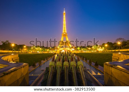 Paris, France - May 16, 2014: Light up at Eiffel tower in Paris at night