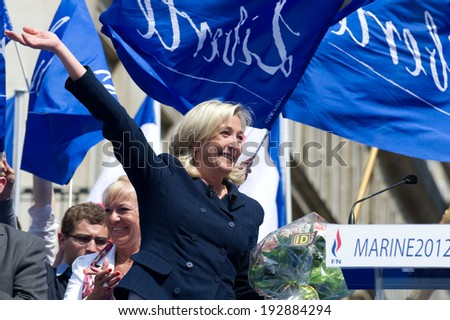 PARIS, FRANCE - MAY 1, 2011 : Marine Le Pen during her meeting for the celebration of May 1