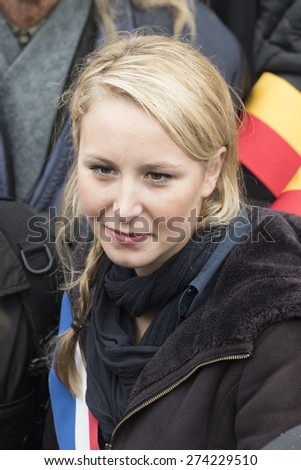 PARIS, FRANCE - MAY 1, 2015 : Marion Marechal le Pen from Front National during the may 1 parade