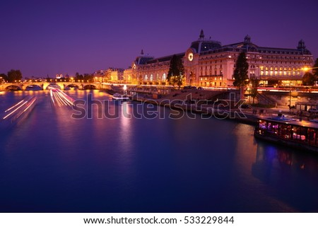Paris, France. May 15 2014. Muse d'Orsay at night with Seine in view.