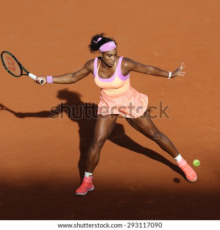 PARIS, FRANCE- MAY 30, 2015: Nineteen times Grand Slam champion Serena Williams in action during her third round match at Roland Garros 2015 in Paris, France - stock photo