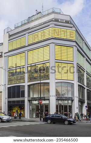 PARIS, FRANCE - MAY 10, 2014: Printemps (founded in 1865) in Paris - largest beauty Department Store in the world with 45000 sqm of shopping. Fragment of a building (registered as Historic Monument). - stock photo