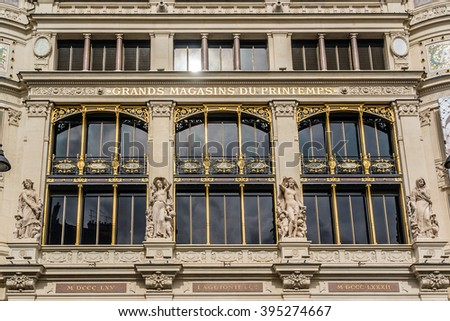 PARIS, FRANCE - MAY 10, 2014: Printemps (founded in 1865) in Paris - largest beauty Department Store with 45000 sqm of shopping. Architectural Fragment of a building (registered as Historic Monument).