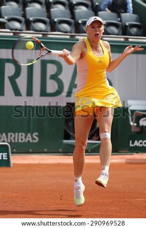 PARIS, FRANCE- MAY 28, 2015: Professional tennis player Caroline Wozniacki of Denmark during her third round match at Roland Garros 2015 in Paris, France - stock photo