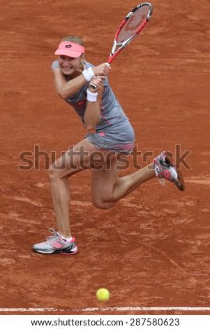 PARIS, FRANCE- MAY 31, 2015: Professional tennis player Ekaterina Makarova of Russia during fourth round match at Roland Garros 2015 in Paris, France