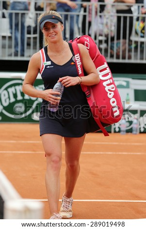 PARIS, FRANCE- MAY 29, 2015: Professional tennis player Elina Svitolina of Ukraine leaving court after victory in third round match at Roland Garros 2015 in Paris, France