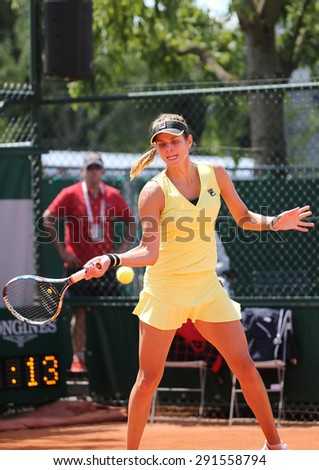 PARIS, FRANCE- MAY 30, 2015: Professional tennis player Julia Goerges of Germany during her match at Roland Garros 2015 in Paris, France - stock photo