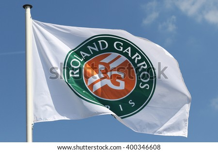 PARIS, FRANCE- MAY 26, 2015: Roland Garros flag at Le Stade Roland Garros in Paris, France - stock photo