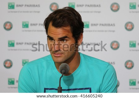 PARIS, FRANCE- MAY 27, 2015: Seventeen times Grand Slam champion Roger Federer during press conference after second round match at Roland Garros 2015 in Paris, France - stock photo