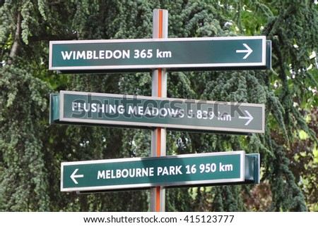 PARIS, FRANCE- MAY 29, 2015 Signpost at Le Stade Roland Garros in Paris, France