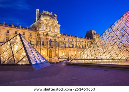 Paris, France - May 13, 2014: The Louvre Museum is one of the world's largest museums and a historic monument. A central landmark of Paris, France.