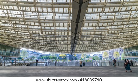 Paris, France - May 8, 2016. The newly renovated Les Halles Shopping Center in the heart of Paris, France - stock photo