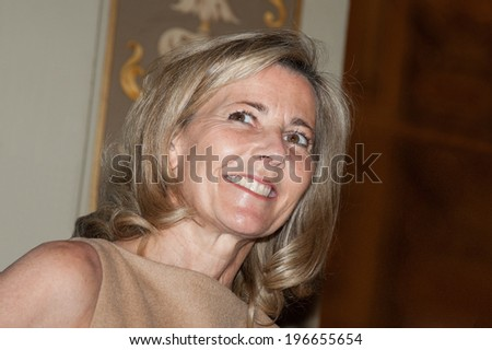Paris, FRANCE - MAY 31, 2011 - The TV presenter Claire Chazal during the operation, 2000 women for 2012, in city hall Paris - stock photo