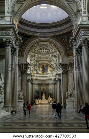 PARIS, FRANCE - MAY 14, 2013: This is view inside the Pantheon in Paris.