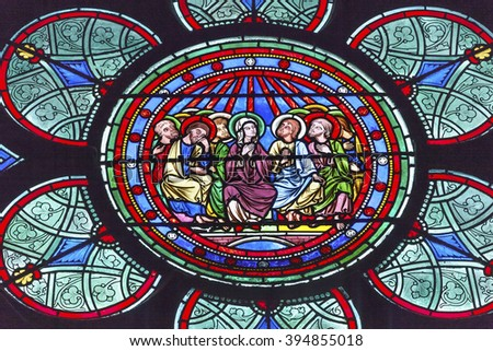 PARIS, FRANCE - MAY 31, 2015  Three Kings Mary Jesus Christ Stained Glass Notre Dame Cathedral Paris France.  Notre Dame was built between 1163 and 1250 AD. - stock photo