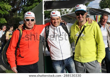 PARIS, FRANCE- MAY 25, 2015:Unidentified Czech tennis fans during third round match at Roland Garros 2015 in Paris, France - stock photo